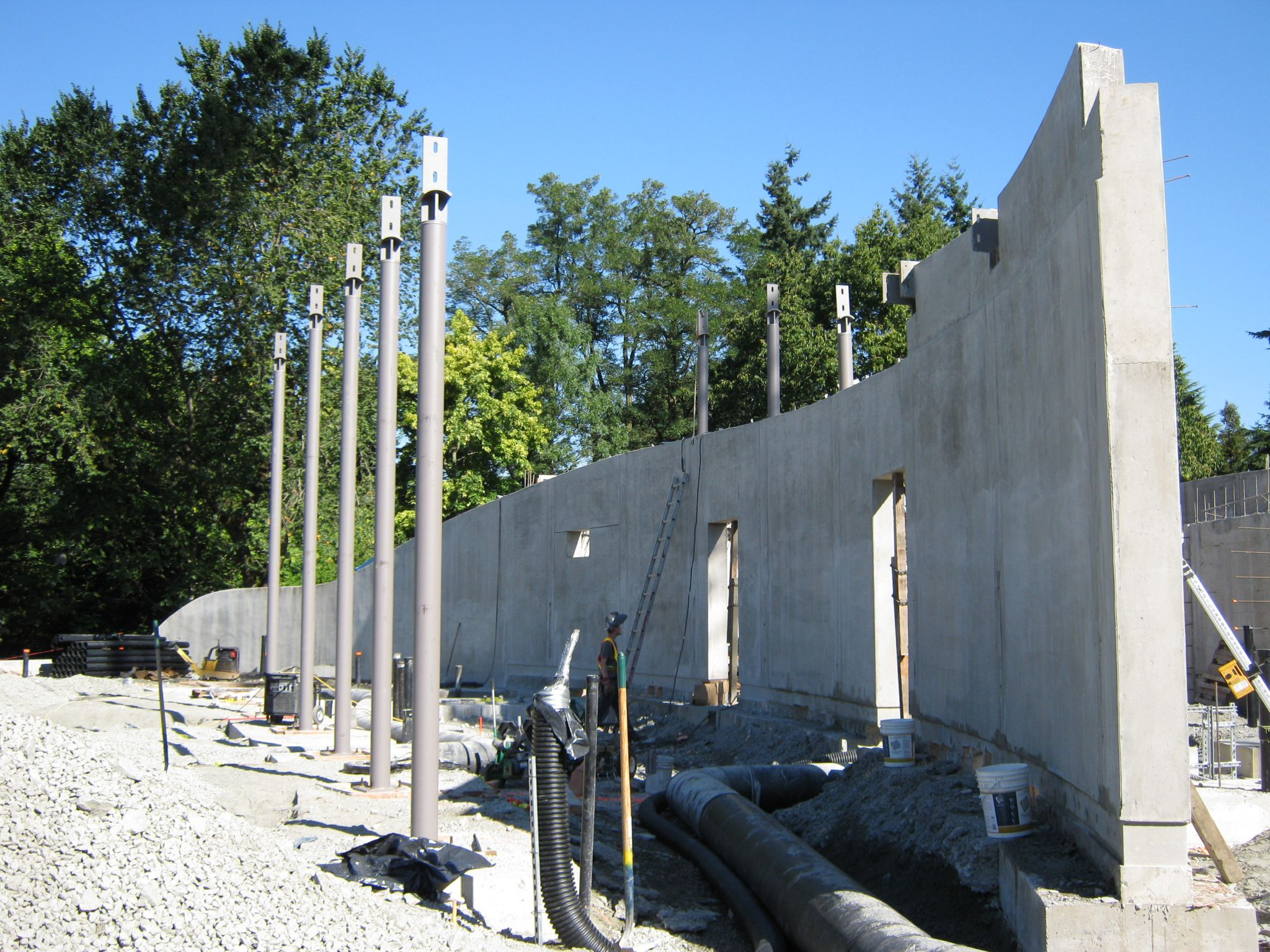The exterior view of the completed feature wall prior to sandblasting.