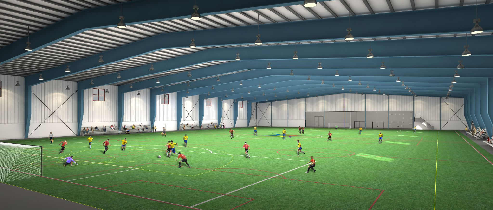 This rendering shows the interior of the Oshawa's Civic Complex and Fieldhouse indoor soccer facilities.