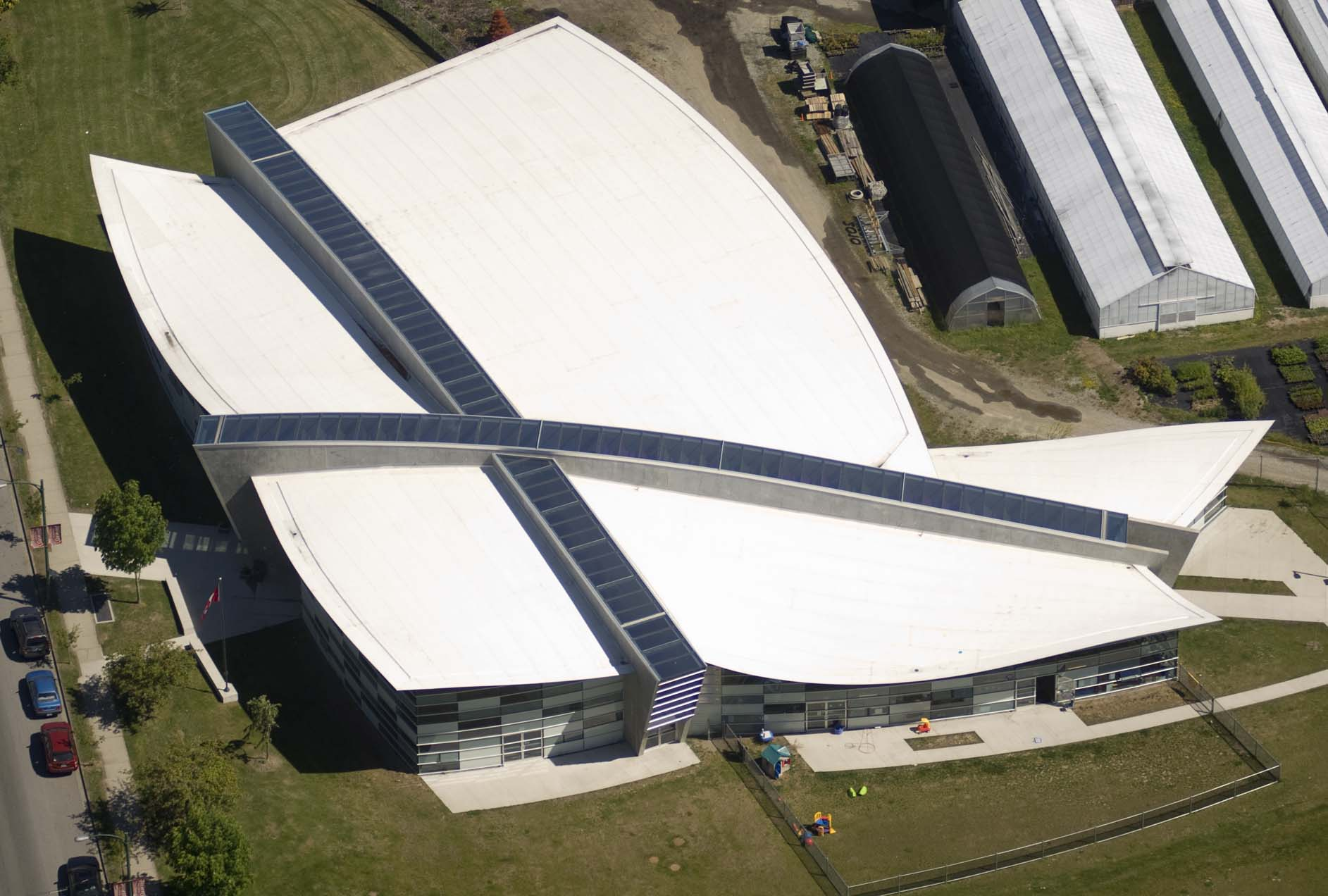 Most of the buildings used for housing, training, or events for the 2010 Winter Olympics in Vancouver were protected by singleply roofi ng—about 278,700 m2 (almost 3 million sf). Photo courtesy Carlisle SynTec