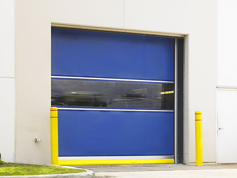 For high-traffic areas, high-speed door operation can provide significant energy savings, especially on exterior walls. Images courtesy DASMA