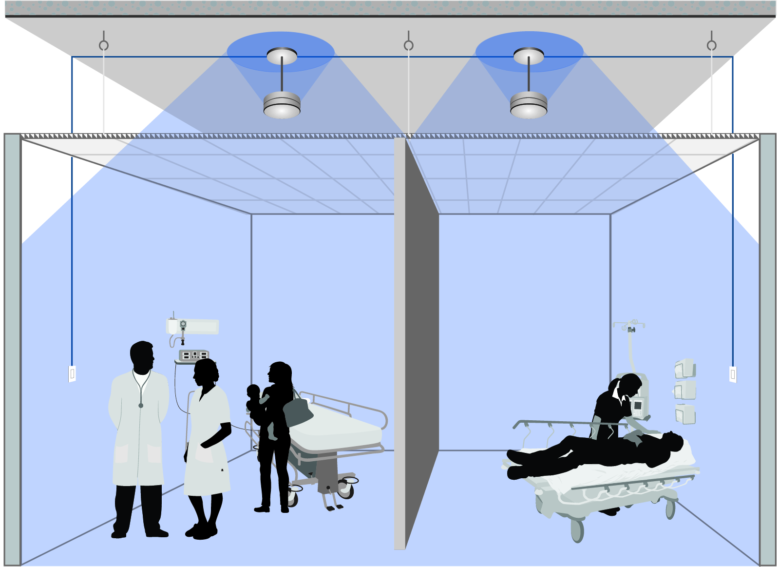 A sound masking system's loudspeakers are typically installed in a gridlike pattern above the suspended ceiling. Patients and/or nursing staff can be given control over volume in patient rooms. Images courtesy K.R. Moeller Associates Ltd.