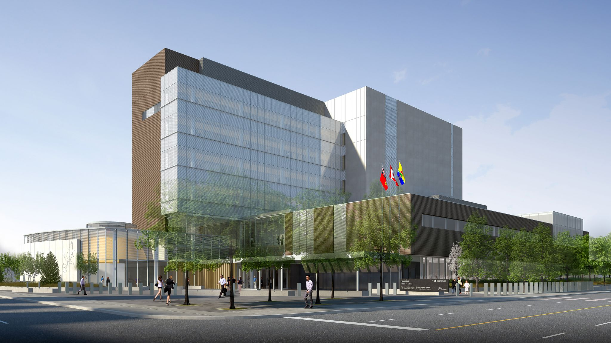 This rendering illustrates the exterior perspective of the Thunder Bay Consolidated Courthouse (TBCC) at the north-east corner at Miles Street East and Brodie Street North. Images courtesy Adamson Associates Architects