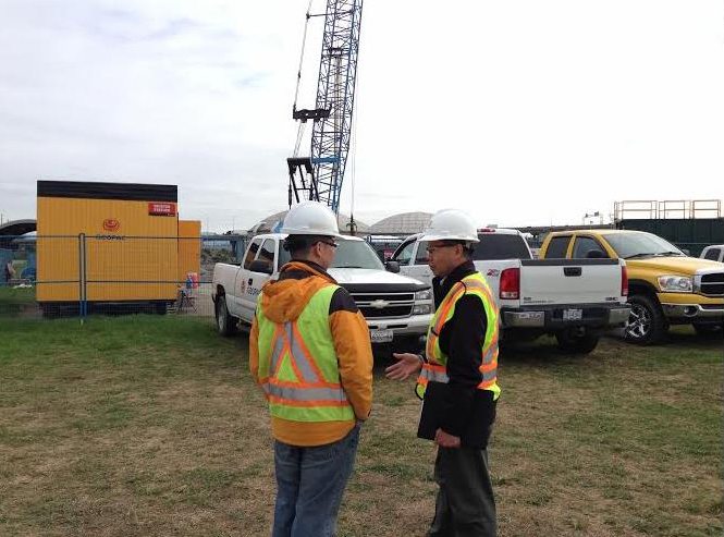 BSI Canada Auditor Steve Hsiung interviews Monta Maeda, P.Eng., of Klohn Crippen Berger (KCB) during an external audit of that firm's Integrated Management System (IMS) at the Annacis Island Wastewater Treatment Plant in Delta, B.C., in April 2014. Photo courtesy BSI Canada