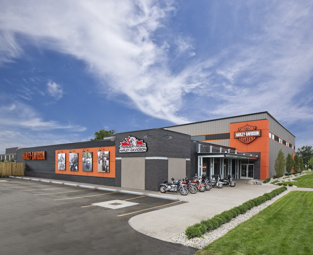 The facility was designed to adhere to Harley-Davidson's corporate esthetic guidelines and the owner's goals for the interior and exterior of the structure. Photos courtesy Dan Reaume Photography