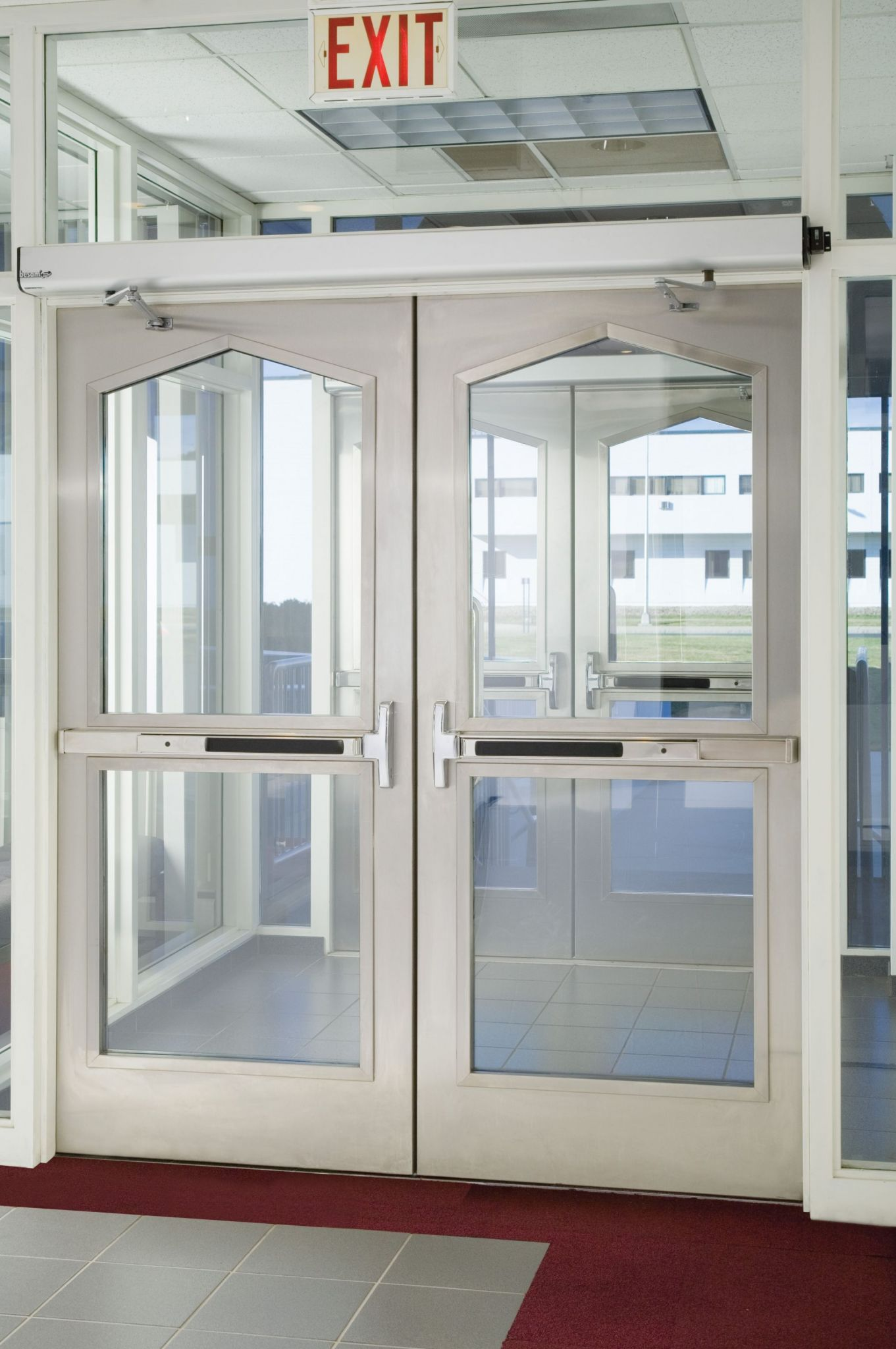 Exit devices on doors enable quick egress from buildings.