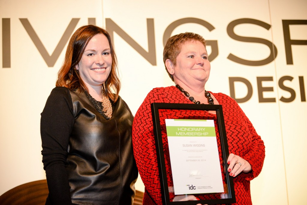 Interior Designers of Canada (IDC) past-president, Ada Bonini with new Honorary Member (and association CEO), Susan Wiggins. Photos courtesy Interior Designers of Canada