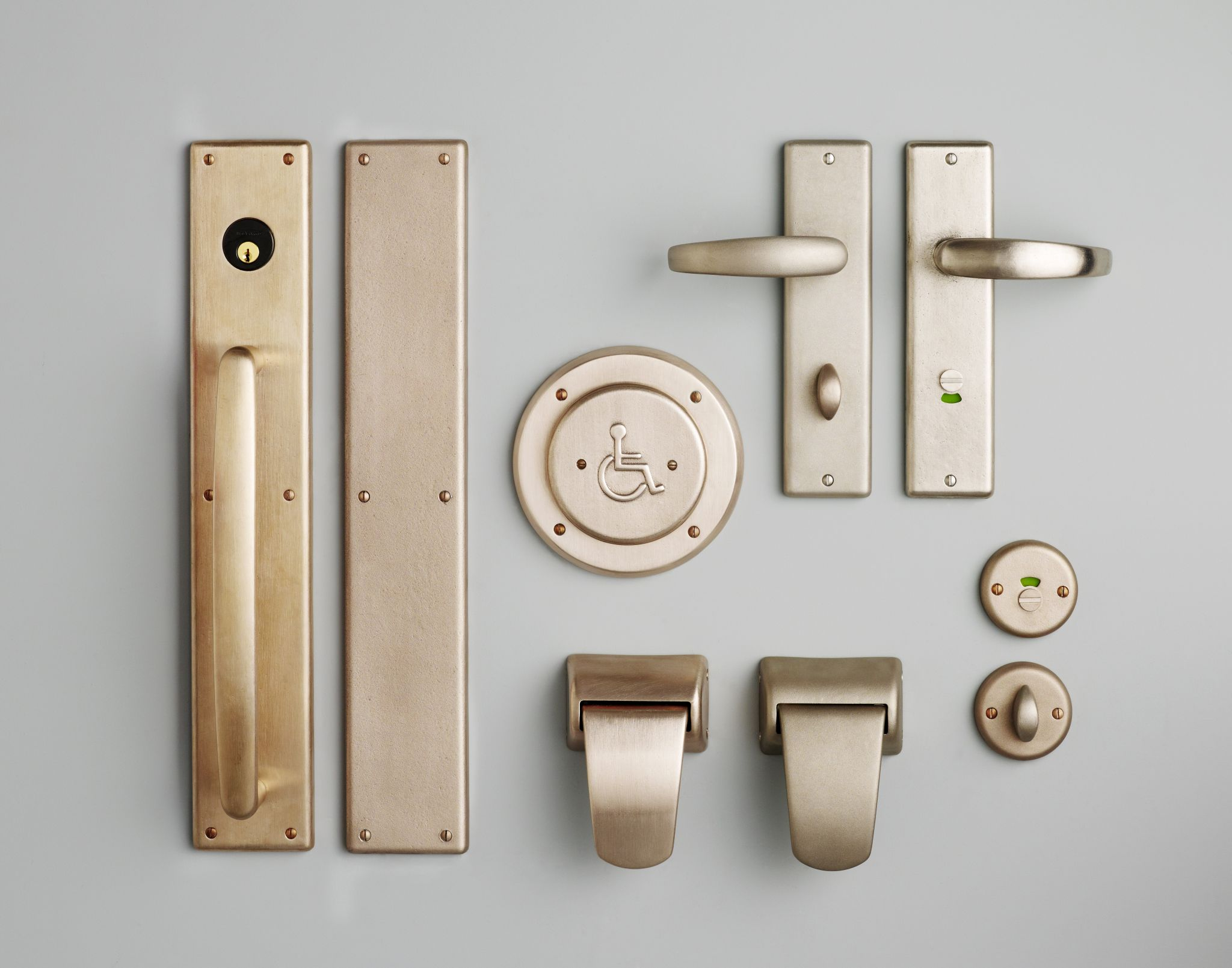 This is a collection of antimicrobial copper door hardware products.