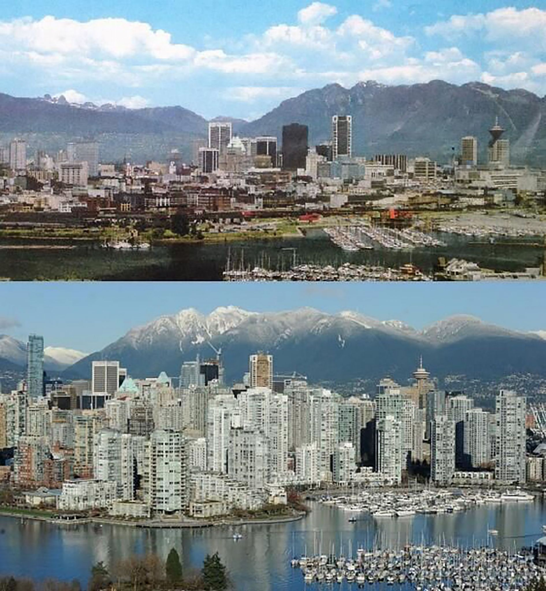 The sheer amount of concrete used worldwide can be seen in the development of our cities year after year. For example, this shows Vancouver in 1970 compared to 2014. Photo © www.bevancouver.com