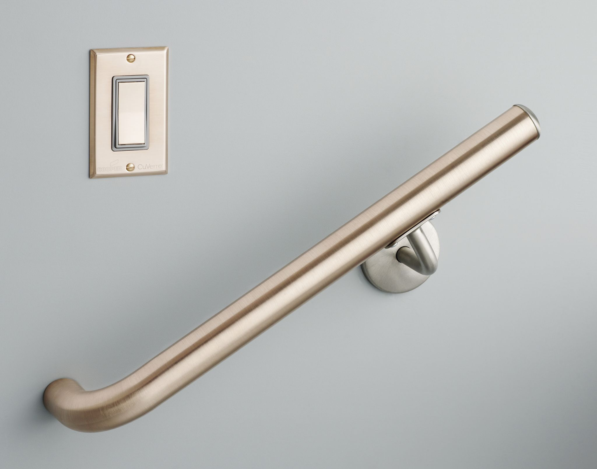 Cabinet hardware made from antimicrobial copper.