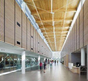 The facility's ceiling is a combination of tongue-and-groove wood decking and fir glued-laminated timber (glulam) beams.