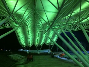 The northern lights inspired structure is made of polytetrafluoroethylene (PTFE) fibreglass membrane with a steel supporting structure, a lightweight, cost-effective solution.