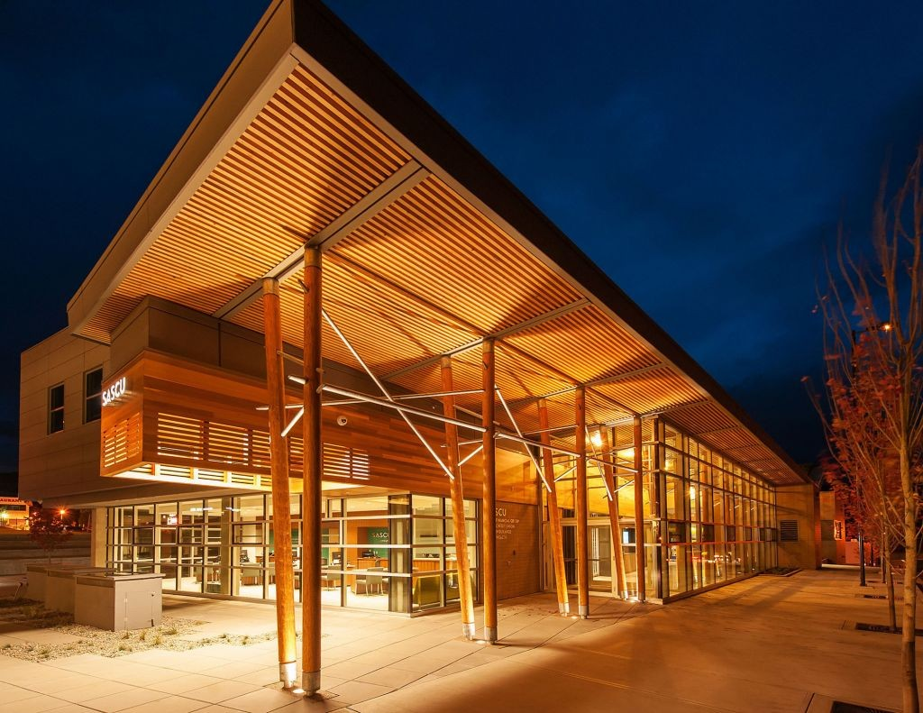 In 2014, the Salmon Arm Savings and Credit Union Uptown Branch earned the project team the Architect Award and the Commercial Wood Design Award at the British Colombia Wood Design Awards.  Photo courtesy Wood WORKS! B.C.
