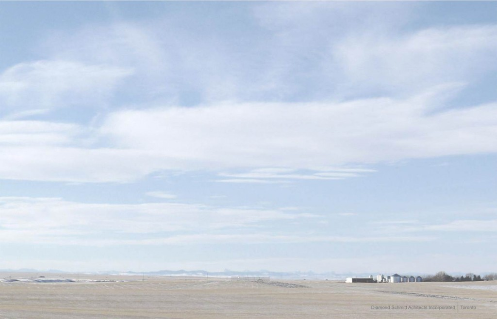 This is the westerly view to the Rockie Mountains from the site of Crossings Leisure Complex Phase 2 in Lethbridge, Alberta. Photo © Jarle Lovlin