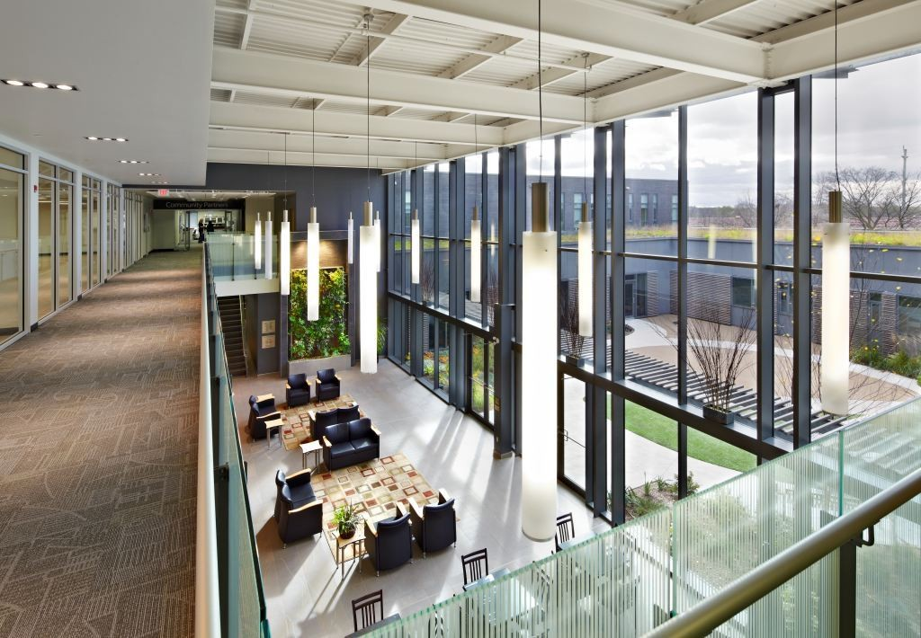 The project, which includes a living-wall atrium, has won numerous awards, including the Cambridge Chamber of Commerce's Environment Award−Excellence in Energy Conservation and the Grand Valley Construction Association's Building Award of Excellence for the '$10 to $20M institutional' category.