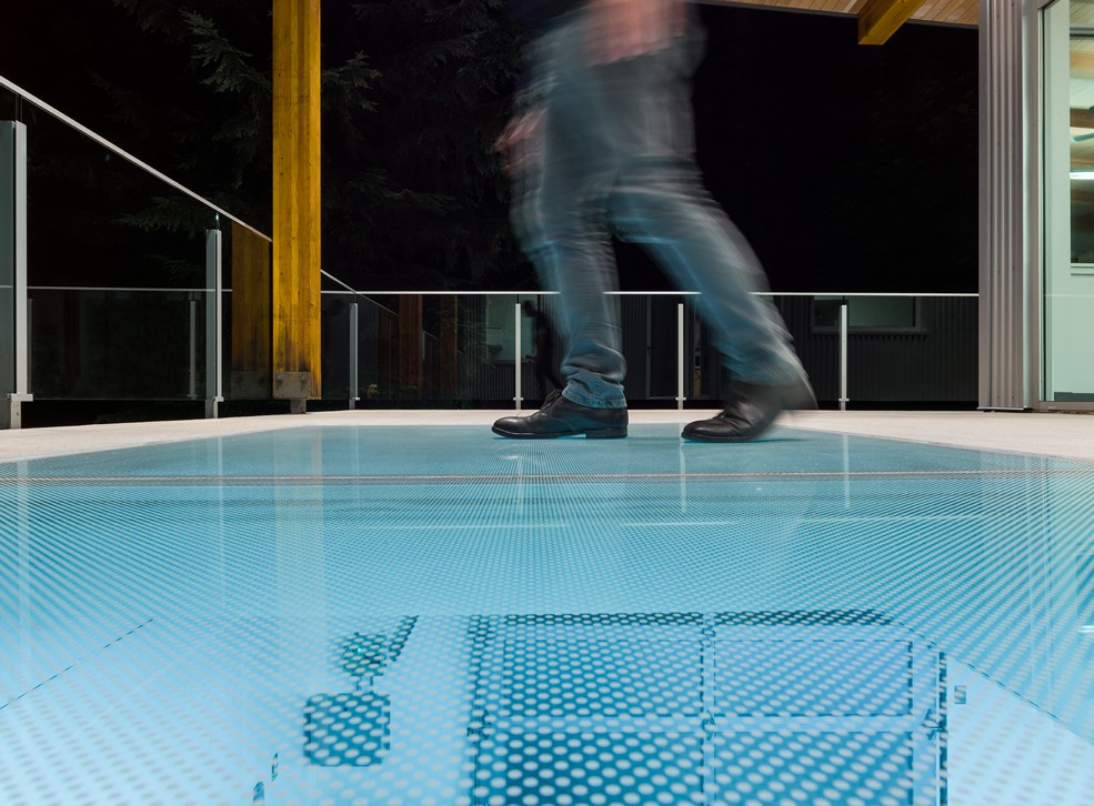 glass floor for an iconic salmon hatchery construction
