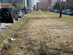 This photo shows before construction where poor stormwater drainage is going through a grass ditch.