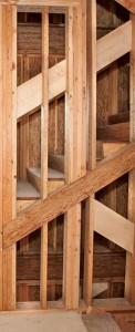 This photo shows structural composite lumber (SCL) headers and beams in a staircase stringer.