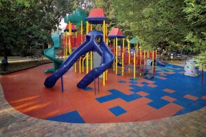 Playground flooring from recycled-tire material boasts fun and playful designs that put safety first.