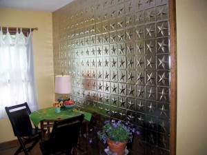 Real steel panel used on an accent wall.