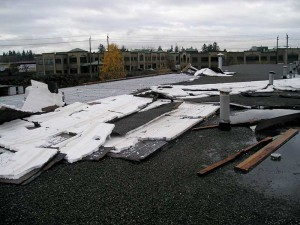 A 10-year-old roof assembly located in Surrey, B.C., failed because of poor installation. Photos courtesy JRS Engineering