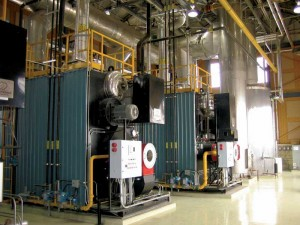 A heat recovery system was installed in 2004 on the boiler stacks to capture the heat from the waste flue gases. The system recovers 15 per cent of the heat lost from the central heating plant at Leclerc Institution in Laval, Québec. Photo courtesy Correctional Service of Canada