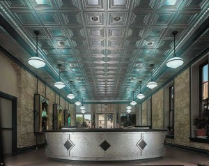 Many historic tin ceiling patterns are still available. These original ceilings were the 'nail-up' variety, meaning they were installed with nails over wooden furring strips. This method is used today, but a 'lay-in' style also was developed to interface with ceiling suspension systems. Photos courtesy Chicago Metallic Corp.