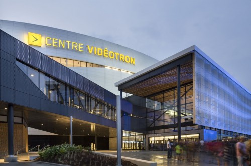 The Vidéotron Centre, designed by ABCP Architecture, is a new indoor arena, ready to house concerts, sports, and possibly lure a NHL team to Québec City. Photos © Stéphane Groleau