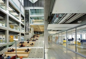 The social stair serves as the heart of the building.