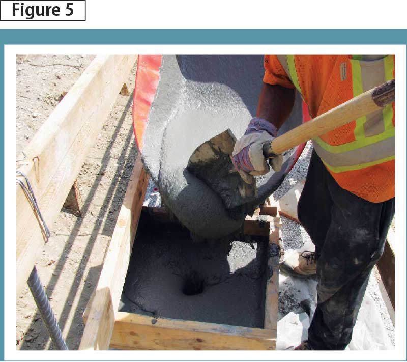 Abutment pockets being filled with UHPC. Photo courtesy MTO