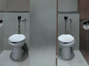 These high-efficiency toilet (HET) systems use 4.8-L (1.3-gal) per flush flushometers to ensure water efficiency.
