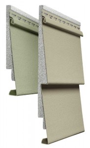 This image shows a cut-away profile of insulated siding, demonstrating its continuous insulation. Insulated siding is vinyl siding with rigid foam insulation laminated or permanently attached to the panel.
