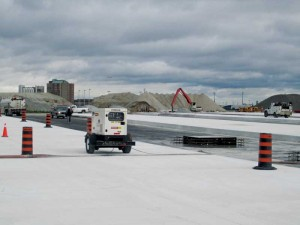 Recycled concrete aggregate (RCA) is being used in the construction of the new aprons of Pearson Airport's Terminal 1 in Toronto. Photo courtesy Doug Hooton, University of Toronto