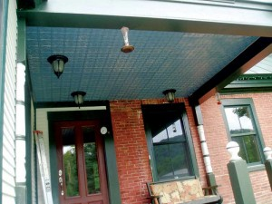 White styrene panels being used outdoors under a front porch. For both residential and commercial projects, the esthetic impact of a decorative ceiling should not be ignored.