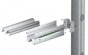 A rendering of a manufactured header system, showing the header, optional stiffening insert, attachment clip, and traditional double-jamb stud.