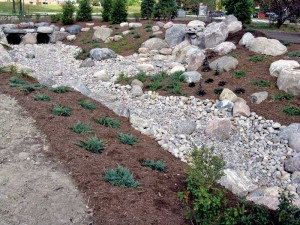 York's dry swale is a preferred alternative to both curb and gutter and storm sewers as stormwater conveyance systems because of development density, topography, and depth to water table permits.