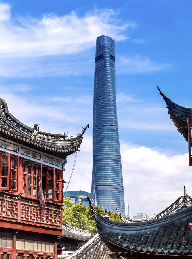 SHANGHAI, CHINA - SEPTEMBER 12, 2015 Shanghai Tower Second Tallest Building in World from Yuyuan Garden Old Town Shanghai China