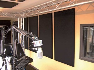 This radio station studio required a high proportion of absorptive treatment, using surface area on the walls and ceiling.