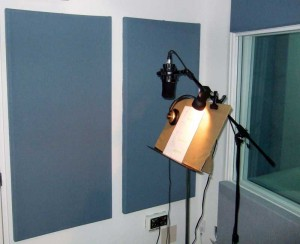 This vocal booth has been treated to produce a precise acoustical environment, minimizing ambient noise and maximizing speech clarity.