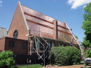 Installing Rauten (interlocking) copper tiles on Bibb Chapel, at the Episcopal Church of Nativity in Alabama.