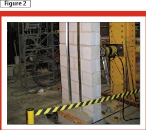 This external steel stud reinforced hollow block foundation wall is being tested at McMaster University in Hamilton.