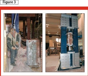Glass fibre-reinforced polymer (GFRP)-wrapped brick column testing is being performed at the University of Calgary.