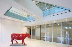 Fire-rated glass systems can help transfer light to interior spaces. Photo courtesy Pilkington