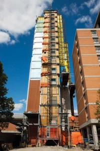 The west tower of the U of M student residence will be joined to the east tower by a 61-m (200-ft) span. Photo courtesy Alpha Masonry