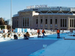 A 26,477-m2 (285,000-sf) KEE roof installed below an artificial turf 'garden roof' at Yankee Stadium Parking Garage in New York.