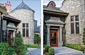 The house features hand-carved natural stone for the window trims, entranceway, and moldings. Sandstone tile was also used for the entranceway and natural stone for the wall cladding. Photos courtesy New Castle Stoneworks