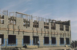 The Clearspring Middle School in Steinbach is being constructed with CMUs, including the interior walls. The 14,900-m2 (160,382-sf) building's content involves 130,000 blocks and 6000 m2 (64,583 sf) of brick veneer. Photos by Gervin L. Greasley