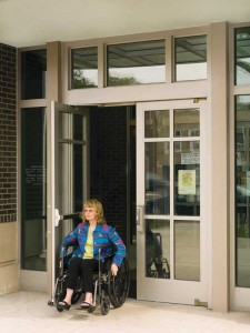 Perhaps the first and most obvious reason to specify a power-operated door is to provide access for people with disabilities.