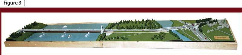 In this rendering, the Canal Bridge can be seen as the smaller structure on the right. The forthcoming Cornwall, Ont., project will make use of the new HPC mix, serving as a showcase for the technology. Image courtesy Federal Bridge Corp. Ltd.