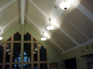 Absorptive treatment on a vaulted ceiling.