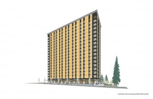 Brock Commons, a student residence at the University of British Columbia (UBC) currently under construction, is expected to be the world's tallest timber building upon completion.  Photo courtesy Acton Ostry Architects